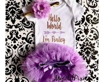 Baby Girl Take home outfit, Tutu Bloomer, Onesie Headband set- Hello World Personalized Newborn baby Girl Onesie, Newborn baby, purple gold