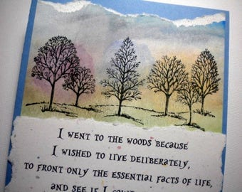A DELIBERATE LIFE ~ Watercolor Greeting Card with quote by Thoreau