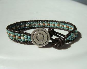 Turquoise Seed Bead and Leather Bracelet