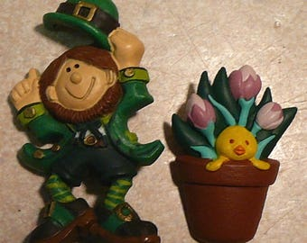 Vintage Hallmark Easter Pin & St. Patrick's Day Leprachaun Brooch