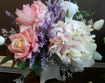 Romantic Peony, Hydrangea,  and Rose Silk Floral Arrangement soft Pink and white.