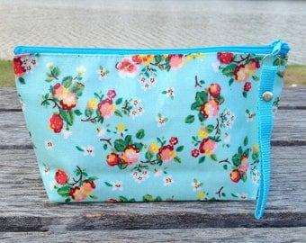 Flower on a Blue Oilcloth Zipper Pouch | Cosmetic bag | Party bag | Gift bag | Reusable bag | Waterproof bag | Party bag | Makeup bag |