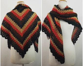 Mixed collors crochet shawl  100% acrylic , ready to ship