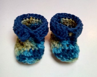 Green and Blue Baby Booties