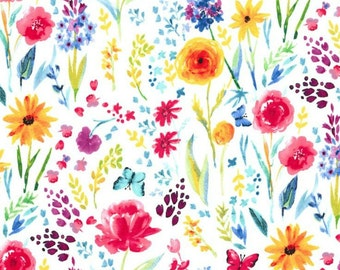 Michael Miller - Garden Party Collection - Meadow Menagerie in White