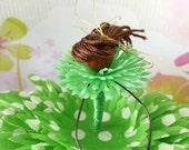 ON SALE Lime Polka Dot Fairy, Green Daisy Fairy, Spring Birthdays, Gift Topper, Fairy Tree Ornament, Woodland Faerie, Green & White Flower F