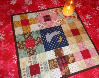 Hand Quilted Table Topper - Wool Bunny over the Moon