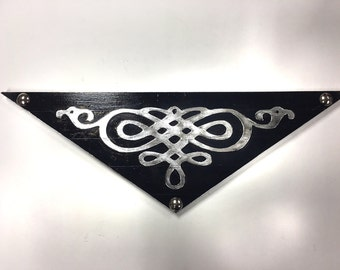 Faux Black Silver Metal Scroll Painting Rock and Roll Rockabilly Psychobilly Punk Goth Retro Wall Art Mancave Industrial vintage style
