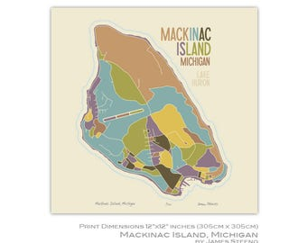 Mackinac Island, Michigan Art Map Print (Lake Huron) (Upper Peninsula) by James Steeno