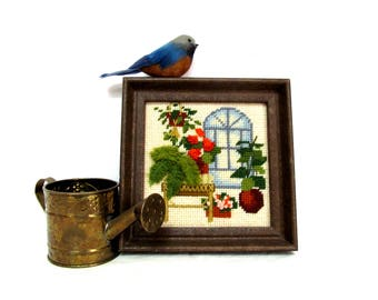 Crewel Embroidery Blue Stained Glass Atrium,  Houseplant Window Scene, Completed and Framed, 1970s