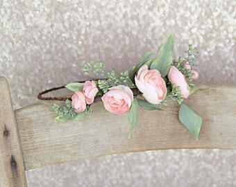 RESERVED for queenanimalia - Bridal Floral Crown | Peach and Mint Wedding Flower Crown