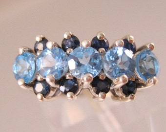 XMAS SALE Vintage Genuine Sapphire & Topaz Sterling Silver Ring Triple Band Size 7 Fine Jewelry Jewellery