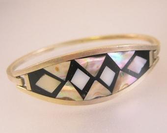 Mexican Abalone Shell & Onyx Alpaca Hinged Bangle Bracelet Vintage Jewelry Jewellery