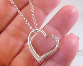 """Floating Heart Pendant Necklace Sterling Silver Signed B 18.5"""" Vintage Jewelry Jewellery"""