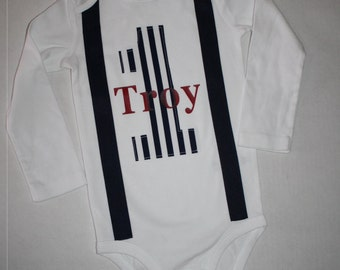 cake smash outfit, boys 1st birthday outfit, boy's 1st birthday bodysuit, navy blue faux suspenders red name cake smash