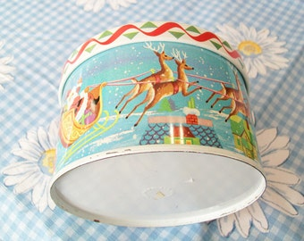 SALE - Vintage Christmas Tin, made in England, Santa, reindeer