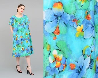 60s Floral Dress, Hawaiian Dress, 1960s MuuMuu, Tent Dress, Hibiscus Print, Cotton Midi Dress Medium Large M L