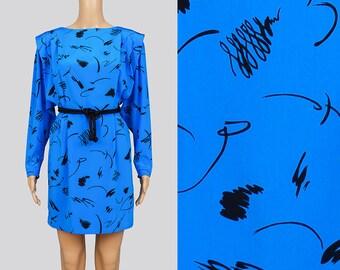 Vintage 80s Blue Abstract Dress | Artsy Black Graphic Print Dress | Dolman Sleeve | Pleated Sheath Dress | Batwing Mini Dress | Medium M