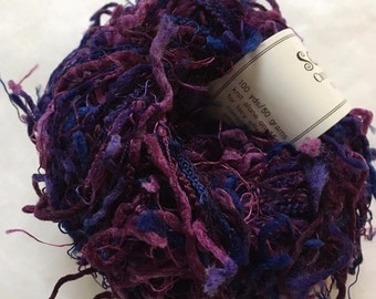 Sale - Crystal Palace Yarns Squiggle #9211 Delphinium Mix - Purples, Blue - Great CarryAlong! - PigTail Eyelash