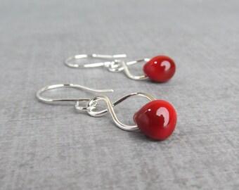 Blood Red Dangles, Dark Red Earrings, Lampwork Earrings Red, Silver Infinity Earrings, Sterling Silver Wire Earrings, Red Silver Earrings