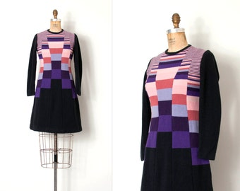 vintage 1960s dress / color block 1960s  wool dress / Blocked