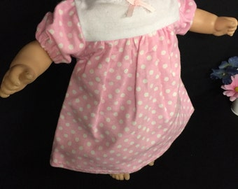 Doll Clothes For 15 Inch Baby Dolls 15 Inch Doll Nightgown Doll Pajamas Doll Polka Dot Sleepwear Made to Fit Like Bitty Baby or Bitty Twin