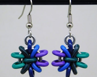 Cool Toned Anemone Earring, fun and funky drop earring, chainmaille earring, green, blue, purple