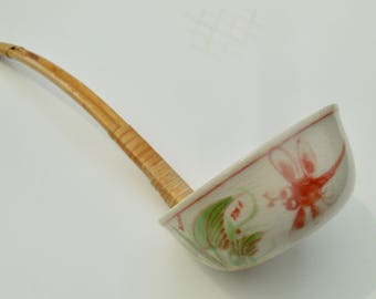 Antique Japanese Ceramic & Bamboo Dragon Fly Ladle Spoon