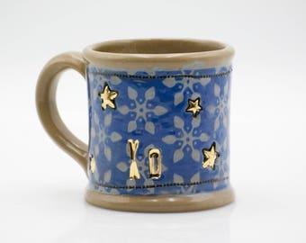 Blue mug - unique pottery mug - Ceramic mug - tea cup  - coffee mug - Gold accent - coffee lovers gift - stoneware mug - Large Coffee Mug