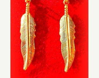 EPIC SALE GOLD Feather Earrings - Larger size, Tribal, Boho, dangly feather earrings in gold or silver