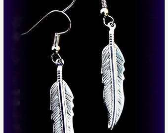 EPIC SALE NATIVE Pride Silver feather earrings- Larger size, dangle drop feather earrings, gold feather, native american,tribal, bohemian, b