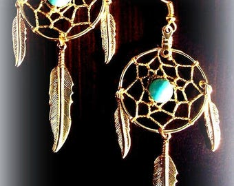 EPIC SALE Long Gold Dream catchers LG. with Turquoise and three feathers- Sun & Sky series Large version 3-inches