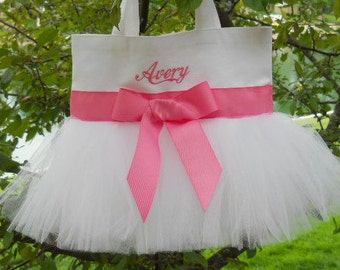 Wedding tote bag, Flower Girl tote bag, Embroidered Dance Bag - White Tote Bag with Coral Ribbon Personalized Tutu Tote Bag - TB274 BP