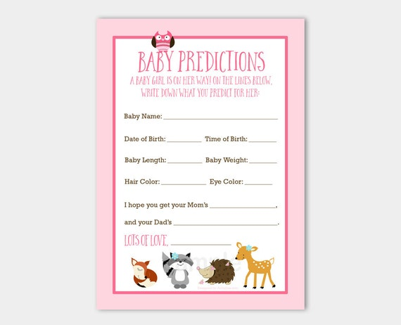 woodland animals baby girl deer, fox, owl, hedgehog, raccoon, Baby shower invitations