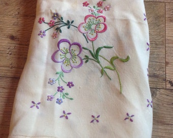 Vintage Hand Embroidered Floral Tablecloth, Floral Embroidered tablecloth