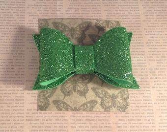 Sparkly green glitter hair bow , hair decoration green glitter