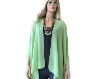 Greenery Boho Kimono/ Kimono cardigan-Solid Greenery green-Lagenlook chiffon kimono/ruana style