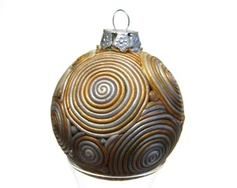 Filigree Ball Ornament, Silver and Gold Ombre, Polymer Clay Ball, Pearl Swirl, Holiday Decor, Christmas Ball, Ready to Ship