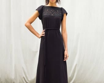 Fae Dress with Italian Lace detail, Size Extra Small,  black dress, modern romantic- ready to ship