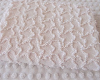 "Vintage Chenille Fabric - Cabin Crafts very pale pink squiggles - 18"" x 24"" - 400-176"
