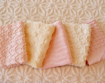 "Vintage Chenille Fabric Mini Sets - Pink & Yellow - Five 12"" x 18"" pieces - 100-408"