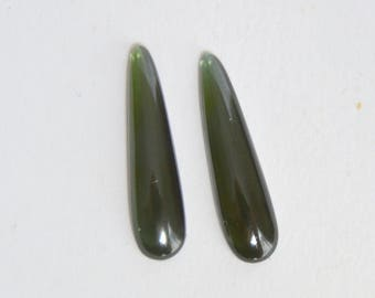 Green Tourmaline, Tourmaline Elongated Pear Shape, Tourmaline Matched Pair, Tourmaline Loose Gems, Elongated Pear, Cabochon