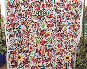 Multi colored otomi coverlet