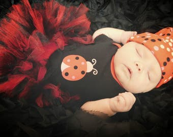 Red and black lady bug tutu