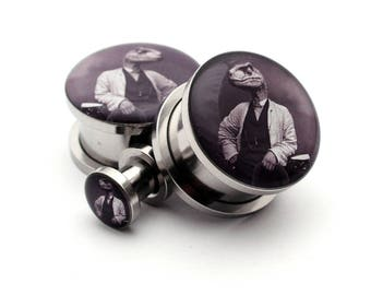 Dapper Raptor Picture Plugs gauges - 16g, 14g, 12g, 10g, 8g, 6g, 4g, 2g, 0g, 00g, 7/16, 1/2, 9/16, 5/8, 3/4, 7/8, 1 inch