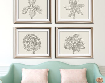 Flower Heads (Series C2 - Horizontal) Set of 4 - Art Prints (Featured in Gravel on Soft China) Colors Customizable