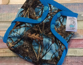 Blue Timber Polyester PUL Cloth Diaper Cover With Aplix Hook & Loop Or Snaps You Pick Size XS/Newborn, Small, Medium, Large, or One Size