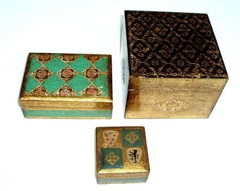 set of 3 VINTAGE FLORENTINE BOXES, hand painted,gilt,small,medium,large,gold,green,pink,black,trinket,jewelry,wooden carved designs,gifts