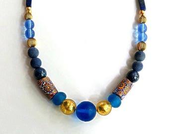 "antique AFRICAN TRADE BEADS, Venetian millefioris,17 3/4"" necklace,lapis lazuli,Ghana Krobo,Murano foil glass,gold,slate blue,sky blue,royal"