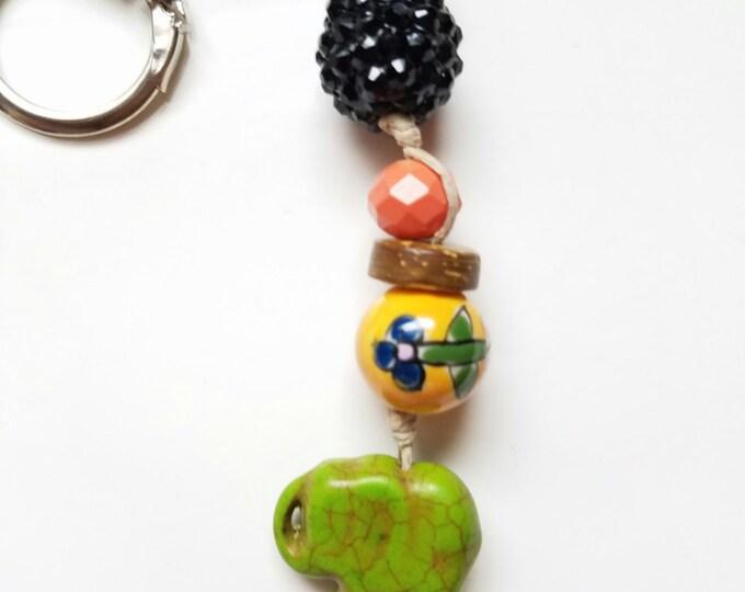 Elephant keychain, beaded keychain, boho keychain, car accessory, purse charm, handbag charm, elephant charm, hippie keychain, gift for her
